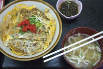 Classic pork over rice bowl with noodle soup served in Japan. by Danita Delimont