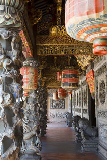 Interior of temple and Chinese lanterns, Georgetown, Penang, Malaysia by Danita Delimont