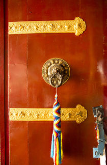 Kathmandu Nepal Door handle with colorful welcome thong hang... by Danita Delimont