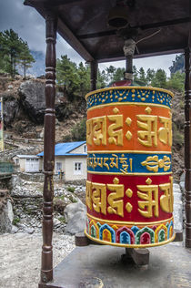 Prayer wheel along trail, Phakding, Nepal. by Danita Delimont