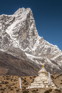 Stupa and prayer flags outside Dingbochhe, Nepal. by Danita Delimont