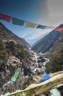 Prayer flags from bridge with Mt by Danita Delimont
