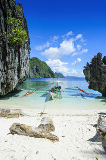 Outrigger boat on a little white beach and Clear water in th... von Danita Delimont