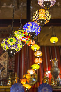 Qatar, Doha, Souq Waqif, redeveloped bazaar area, traditional lamps by Danita Delimont