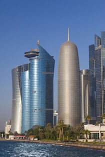 Qatar, Doha, Doha Bay, West Bay skyscrapers with World Trade... by Danita Delimont