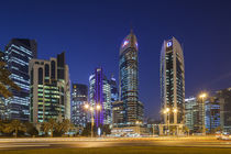 Qatar, Doha, Doha Bay, West Bay Skyscrapers, dusk by Danita Delimont