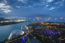 Singapore, elevated view of the Gardens By The Bay with the ... von Danita Delimont