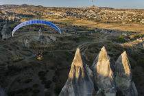 Paramotor in Cappadocia, aerial, Central Anatolia, Turkey by Danita Delimont