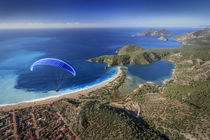 Paramotor flying in Oludeniz, aerial, Fethiye, Turkey by Danita Delimont