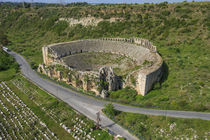 Aerial view of the amphitheater, Perge, Antalya, Turkey by Danita Delimont