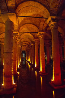 Underground Basilica Cistern lite up under the city of Istan... by Danita Delimont