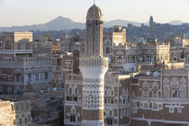 Mosque tower and skyline, Sana'a, Yemen by Danita Delimont