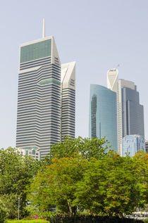 Small park and downtown skyline of Dubai, United Arab Emirates. by Danita Delimont
