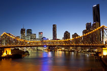 Story Bridge and city skyline along the Brisbane River by Danita Delimont
