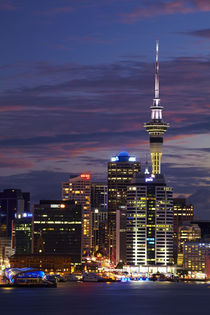Auckland CBD, Skytower, and Waitemata Harbour, North Island,... by Danita Delimont