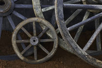 Rustic wagon wheels on movie set, Cuba by Danita Delimont