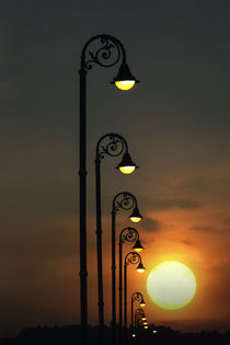 Row of repeating street lights silhouetted at sunrise, Havana, Cuba by Danita Delimont