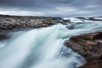 Waterfall along Barren Coastline of Hudson Bay, Nunuavut, Canada by Danita Delimont