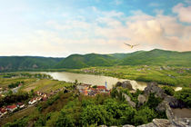 Durnstein, Austria, Wachau Valley, Danube River at sunset von Danita Delimont