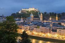 The Hohensalzburg Fortress; cathedral, at dusk; Salzburg; by Danita Delimont