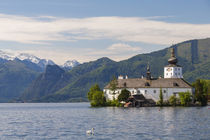 View of schloss Ort at Traunsee lake, Upper Austria, Au by Danita Delimont