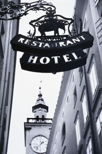Austria, Salzburg, Hotel Sign. by Danita Delimont