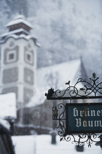 Austria, Salzkammergut, Hallstatt Church with snow. by Danita Delimont