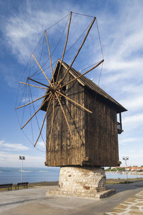 Bulgaria, Black Sea Coast, Nesebar, old windmill on the waterfront von Danita Delimont