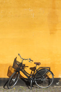Denmark, Zealand, Copenhagen, yellow building detail with bicycle by Danita Delimont