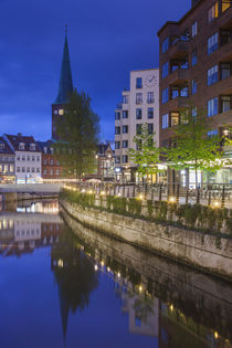 Denmark, Jutland, Aarhus, canal side cafes, evening by Danita Delimont