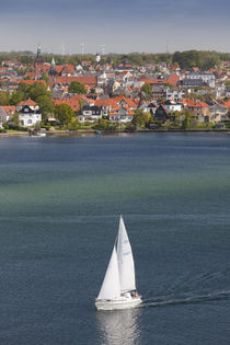 Denmark, Funen, Svendborg, elevated town view with sailboat von Danita Delimont