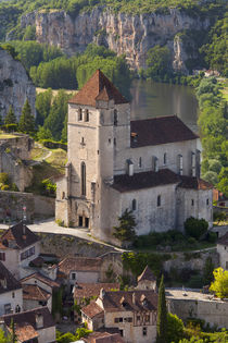 Eglise Church and Medieval town of Saint-Cirq-Lapopie in the... by Danita Delimont