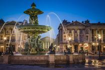 Fontaine des Fleuves at Place de la Concorde with L'eglise S... by Danita Delimont