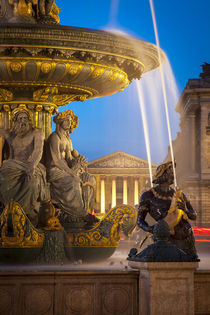 Fontaine des Fleuves at Place de la Concorde with L'eglise S... by Danita Delimont