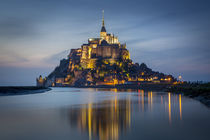 Twilight over Le Mont Saint Michel, Normandy, France. by Danita Delimont