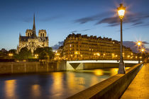 Twilight over River Seine, Cathedral Notre Dame and building... by Danita Delimont
