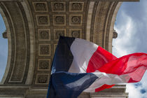 Tri-Color French flag flying below Arc de Triomphe, Paris, France by Danita Delimont