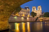 Twilight under Pont Saint Michel with Cathedral Notre Dame, ... by Danita Delimont