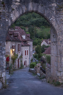 Pre-dawn at the old entry gate to medieval town of Saint-Cir... by Danita Delimont