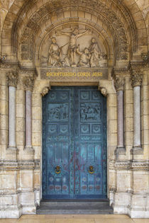Carved wooden doors at entrance to Basilique du Sacre Coeur,... by Danita Delimont