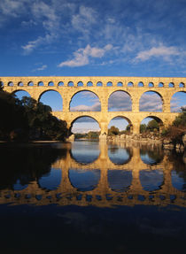 France, Languedoc, Gard, View of Pont du Gard bridge with Gardon river by Danita Delimont
