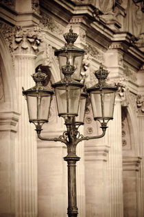 Lamp posts and columns at the Louvre Palace, Louvre Museum, ... von Danita Delimont