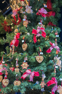 Christmas tree with ornaments for sale, Rothenburg, Germany by Danita Delimont