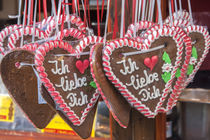 I Love You gingerbread hearts at the holiday market in Aachen, Germany by Danita Delimont