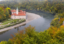 Weltenburg Monastery and the Danube Gorge during fall by Danita Delimont