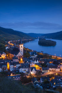 Germany, Hesse, Lorch am Rhine, elevated town view, dusk by Danita Delimont