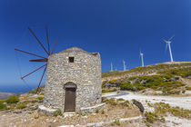 Old windmill and modern wind turbines by Danita Delimont