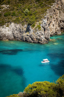 Boating in the blue waters off the coast of the Ionian islan... by Danita Delimont