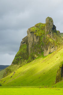 Near Skogafoss. Outcropping of volcanic rock. by Danita Delimont
