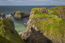 Tourists walk across the Carrick-a-Rede Rope Bridge along th... von Danita Delimont
